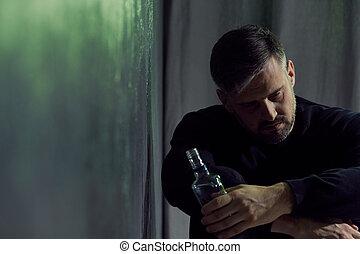 alcohol, verslaafd, man
