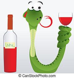 alcohol, vooruitzien, drinkbeker, dronken, staart, illustratie, gelikte, vector, slang, houdt, zijn, wijntje