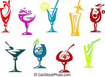 alcohol, y, jugo, cócteles