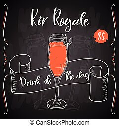 Alcoholc cocktail Kir Royale. Party summer poster. Vector background.