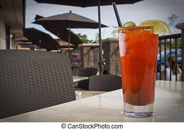 alcoholhoudend, cocktail, in, restaurant, vatting