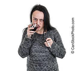 alcoholhoudend, vrouw, drinkt, rode wijn
