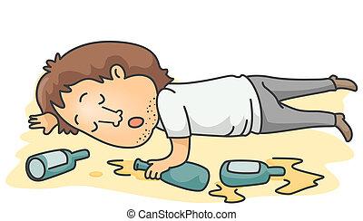 A Drunk Man Lying Unconscious on the floor