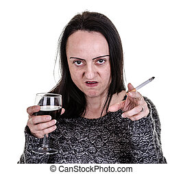 alcoholic, aggressive woman pointing while drinking red wine...