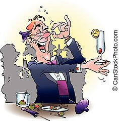 Vector cartoon illustration of an alcoholic at a cocktail party