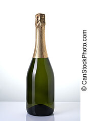 Alcoholic background, champagne without label on a light background.