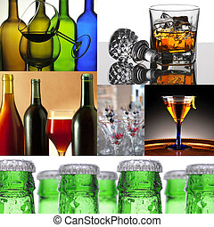 Alcoholic Beverage Collage - Collage of six alcoholic...