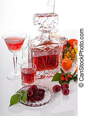 Homemade alcoholic beverage from fruits and herbs