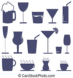 alcoholic beverages - vector set of alcoholic beverages