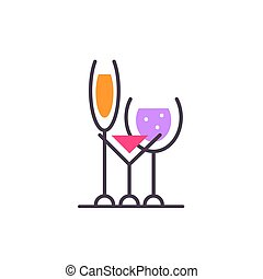 Alcoholic beverages. Logo of bar. Wine list cafe. Stock...