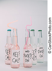 alcoholic beverages in bottles - close-up view of alcoholic...