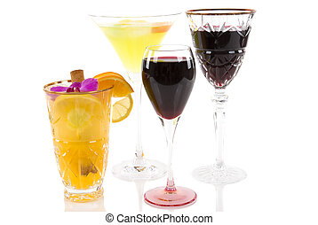 Alcoholic Beverages - Cocktails, and red wine in various...