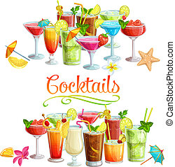 Alcoholic cocklails banners. Summer beach alcoholic drinks. Holiday and beach party vector background. Long island, bloody mary, margarita, mai tai, pina colada, blue lagoon.
