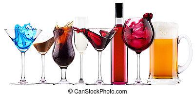 alcoholic cocktail set splash - cocktail, cola, beer, wine, champagne