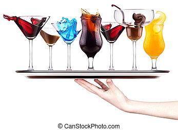 alcoholic cocktail set splash - Red cosmopolitan, Blue...