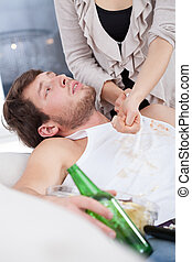 Alcoholic doesn't want to help his wife