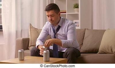 alcoholic drinking alcohol from can at home - alcoholism,...
