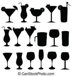 Alcoholic drinks and glasses - Alcoholic drinks, cocktails...