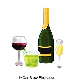 Alcoholic Drinks in Bottle and Glasses Isolated on White Background Vector Illustration. Beverage with Bad Influence to Memory Activity