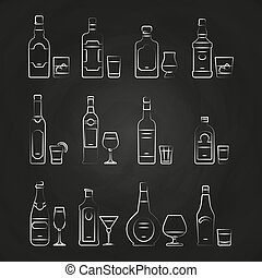 Alcoholic drinks line icons - white drinks icons on chalkboard