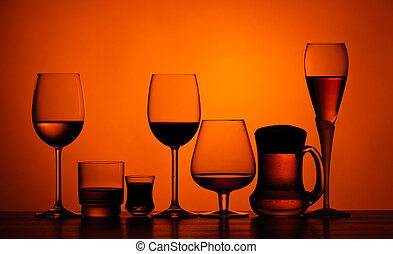 Alcoholic drinks - different glasses of alcoholic drinks on...