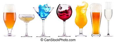 alcoholic drinks set with splash