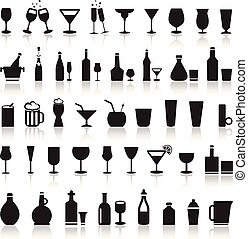 Alcoholic icons on a white background