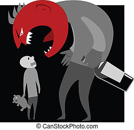 Alcoholic parent and a child - Abusive alcoholic monster...