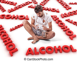 Alcoholic - The young man with a alcohol bottle in a hand