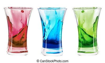 alcoholic shot cocktails stack with splash