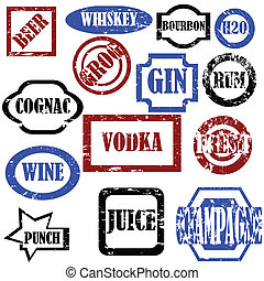 Alcoholic stamps, isolated vector objects on white background