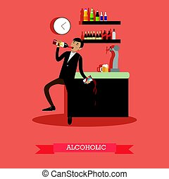 Alcoholic vector illustration in flat style