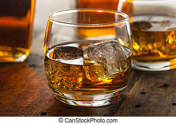 Alcoholic Whiskey Bourbon in a Glass with Ice - Alcoholic ...