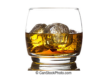 Alcoholic Whiskey Bourbon in a Glass with Ice - Alcoholic...