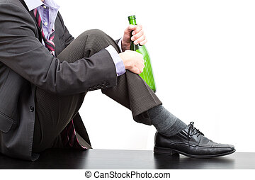 Alcoholic with bottle of wine - Alcoholic after work...