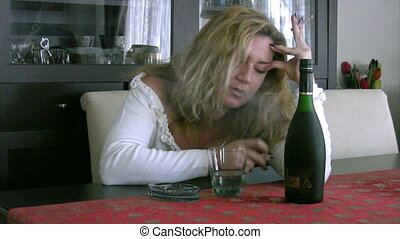alcoholic woman - woman in depression, drinking alcohol
