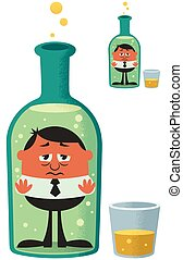 Conceptual illustration for alcoholism. The small version is with no gradient effects.