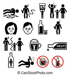 Vector icons set - people having problem with drinking, alcohol abuse
