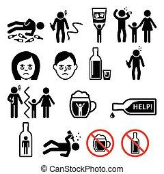 Alcoholism, drunk man, alcohol addiction icons