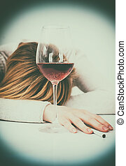 alcoholism., femme, ivre, dormir, femme, table.
