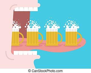 alcoholism., large, beer., bouche, homme, dents, boire, beaucoup, ouvert, langue, boissons