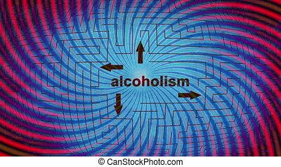 Alcoholism maze concept and dizzy spirals