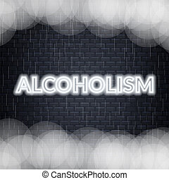 Alcoholism neon lettering. Sad mood. Vector illustration