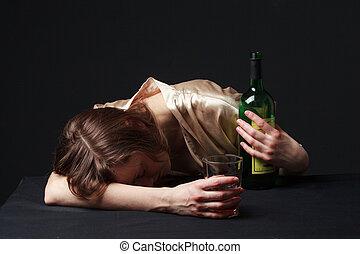 alcoholism., table, femme, jeune, dormir