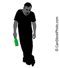 Man with a bottle in his hand stands on a white background. Image on the dangers of alcoholism