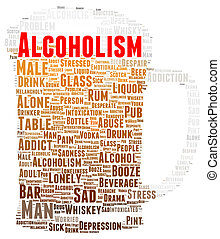 Alcoholism word cloud shape concept