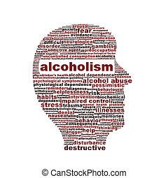 alcoholisme, medisch symbool, vrijstaand, op wit
