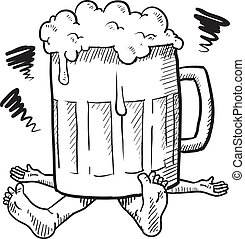 alcoholisme, of, kater, schets