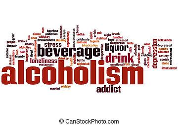 alcoholisme, woord, wolk