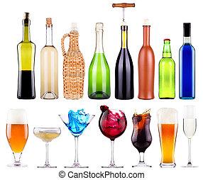 alcoholist drinkt, set, met, gespetter
